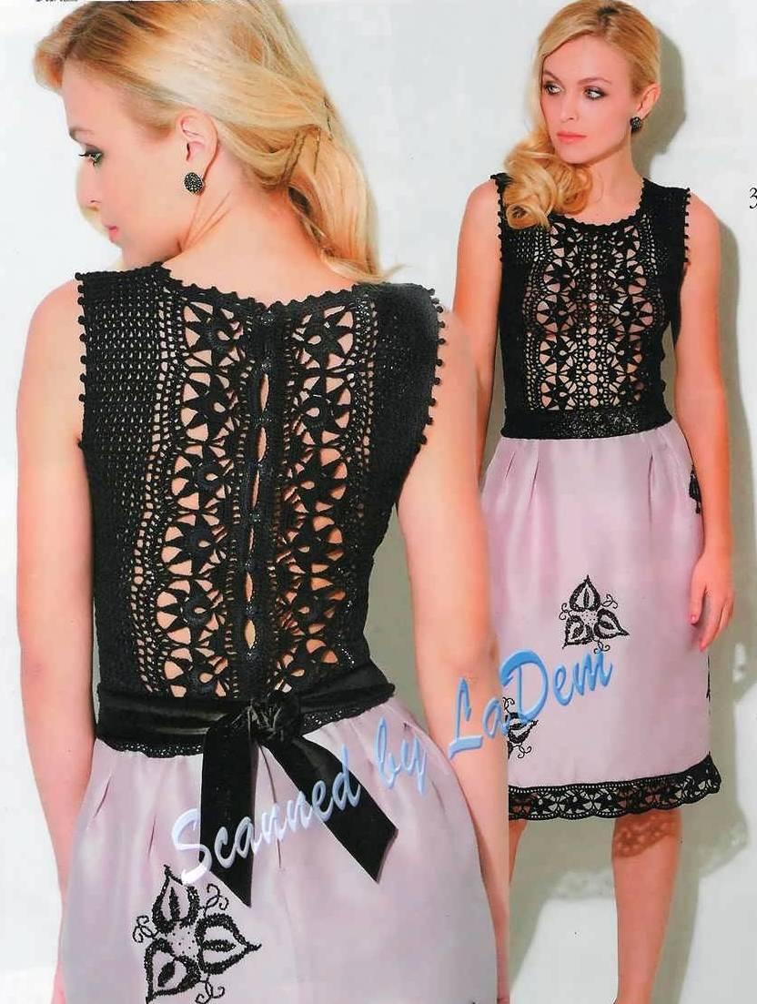Эффектное платье крючком. Вязание + ткань