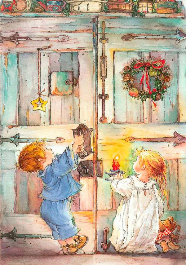 дети несут свечку к дверям кладовой