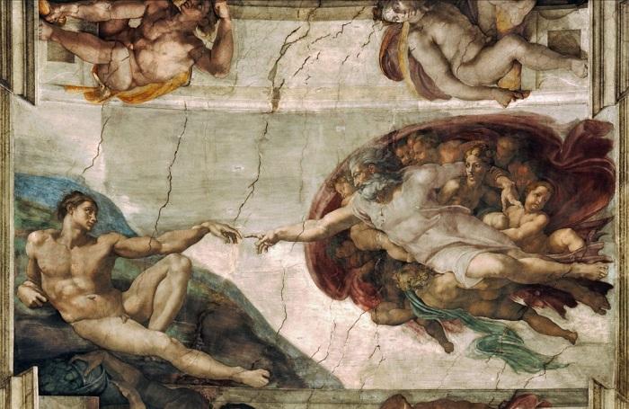 Сотворение Адама. Микеланджело | Фото: fwallpaper.net.