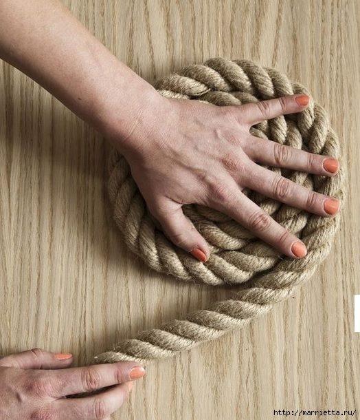 Стильные коврики из веревки