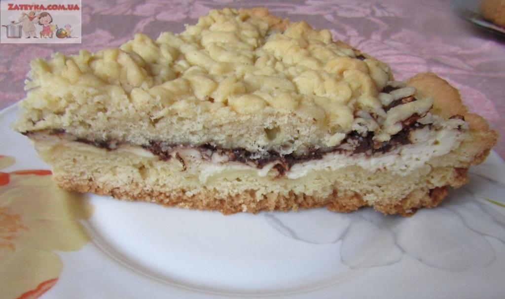 Тёртый пирог с творогом и шоколадом