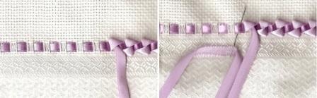 Идеальный вариант, если в скатерти или полотенце есть специальные дырочки, сквозь которые можно продеть ленту. Их можно сделать также самостоятельно, если прочертить две параллельные линии на ширине друг от друга такой, чтобы лента красиво легла. После этого сделайте надрезы на одинаковом расстоянии.