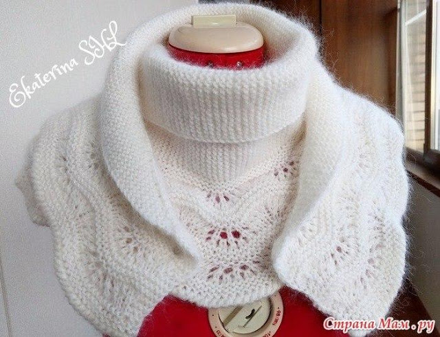 Шикарный и нежный белый шарф - бактус с каймой