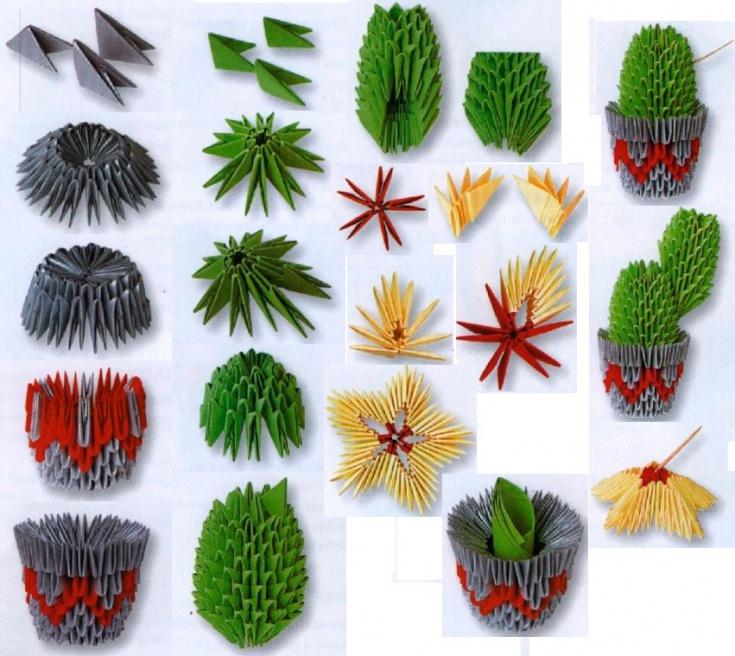 Кактусоводам - оригами и печворк