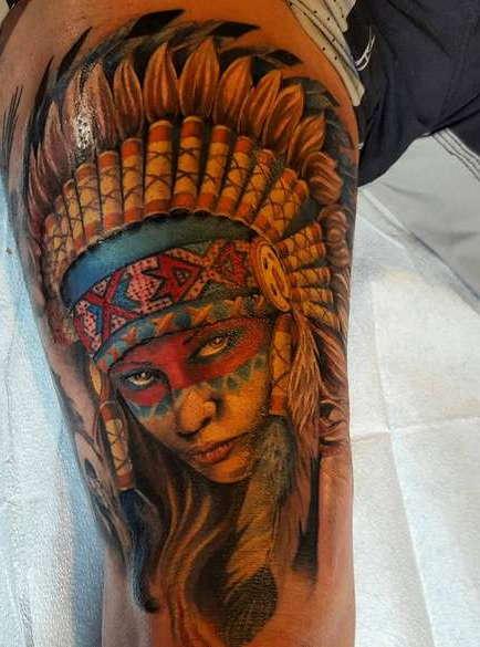 Татуировка девочка индеец