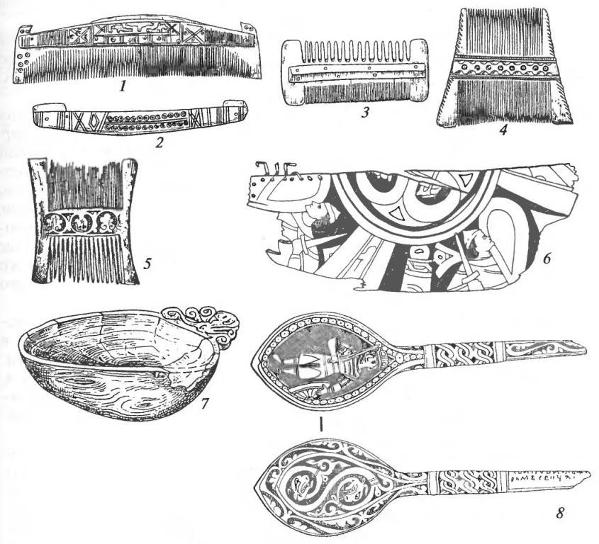 Изделия из дерева и кости: 1 — расческа; 2 — футляр для расчески; 3, 4, 5 — гребни: 6 — обломок расписного блюда; 7 — чаша; 8 — ложка (1-5— кость; 6-8 — дерево)