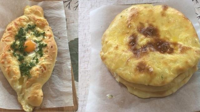 Фото к рецепту: Хачапури по-аджарски и хачапури по-имеретински