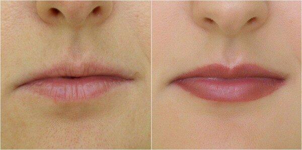 Пример правильного макиÑжа губ. Помада довольно ÑркаÑ, но она не уменьшает объем, а