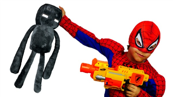 Чудовища из Майнкрафт! Спасение супер героя! Человек паук против Крипера и Эндермена!