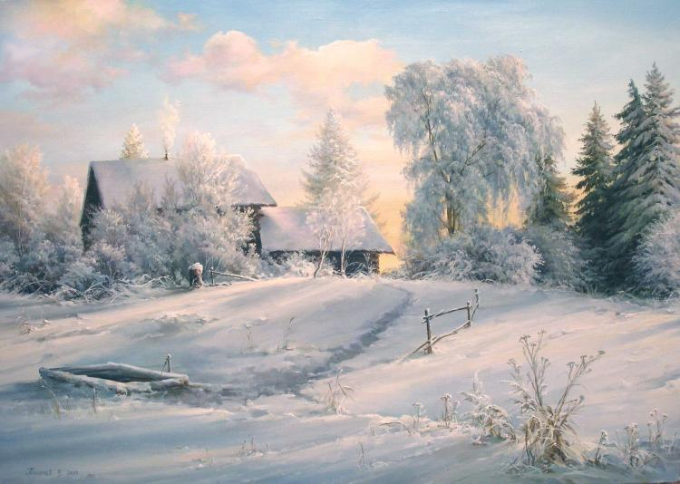 Родная русская деревня, художник Вячеслав Палачев