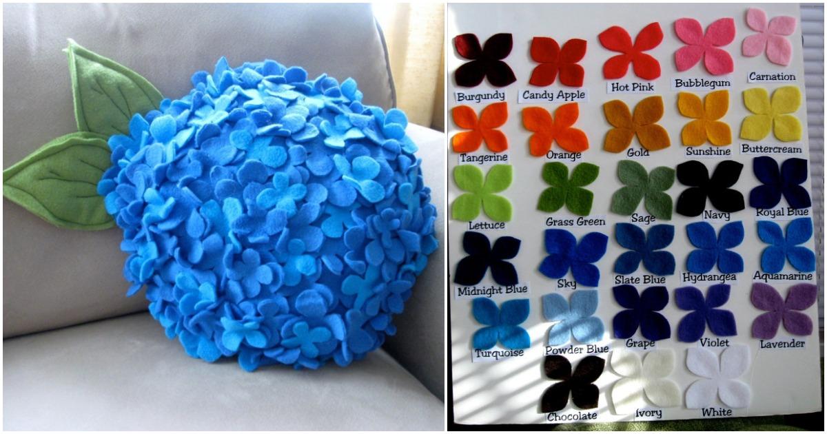 Великолепие фетровых гортензий — оригинальные декоративные подушки для украшения интерьера