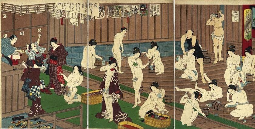 японская гравюра с изображением онсэна