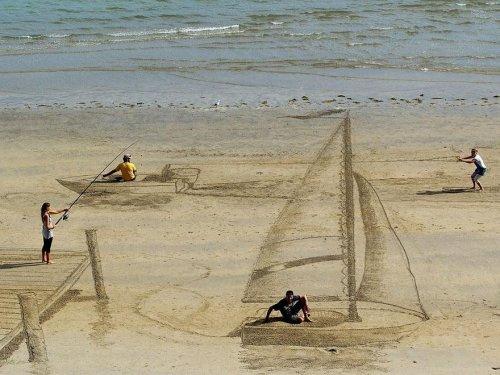 Впечатляющие трёхмерные рисунки на песке от Джейми Харкинса (10 фото + видео)