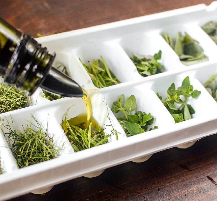 Залейте зелень маслом и заморозьте, чтобы получить заправку для салата. / Фото: 4vkusa.mirtesen.ru