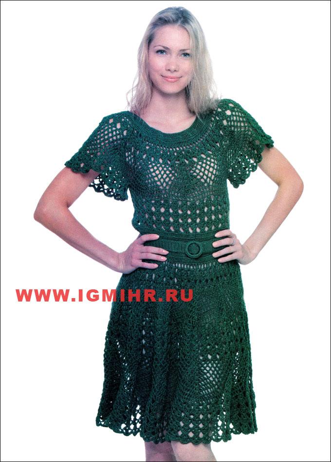 Летнее платье изумрудного цвета.