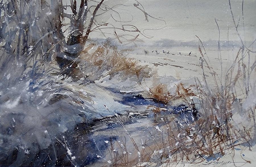 «Белый берег, белый лёд, акварельный небосвод…» Американская художница Sandra Strohschein