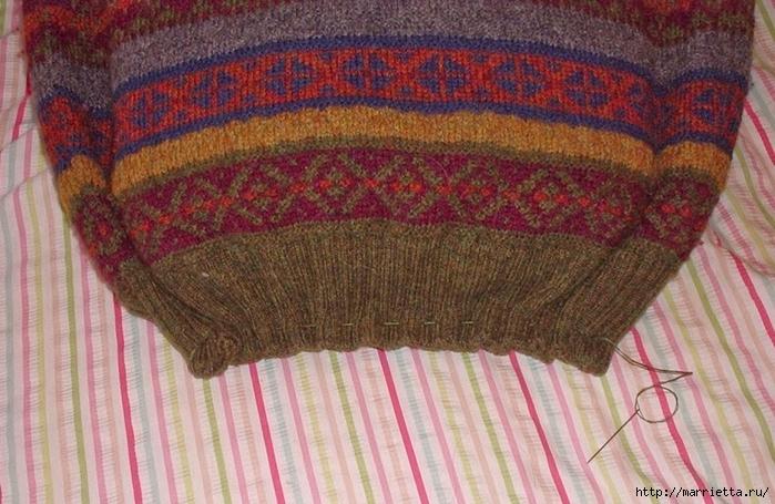 Cuna de gato de un viejo suéter.  Master Class (7) (700x455, 295KB)