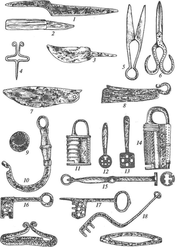 Бытовые кузнечные изделия: 1 — многослойный нож; 2 — нож для деревообработки; 3 — сапожный нож; 4 — светец (лучинодержа- тель); 5 — пружинные ножницы; 6 — шарнирные ножницы; 7, 8 — бритвы; 9 — весовая гирька; 10 — крюк безмена; 11, 14 — навесные замки; 12, 13, 15 — ключи к навесным замкам; 16, 17 — ключи к нутряным замкам; 18 — ключ к замку с деревянным запором; 19, 20 — кресала