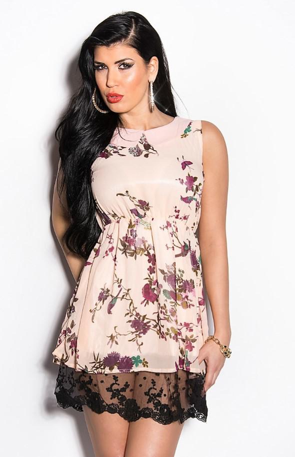 короткое платье удлиненное кружевом
