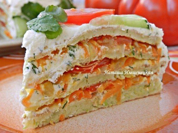 Кабачковый торт с творожной намазкой