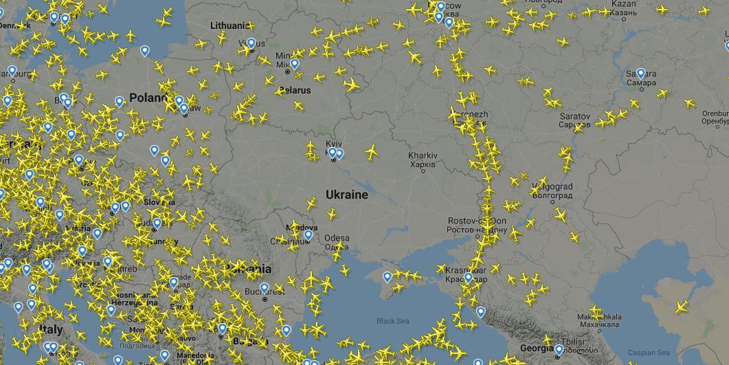 Воздушный коридор в обход Ук…
