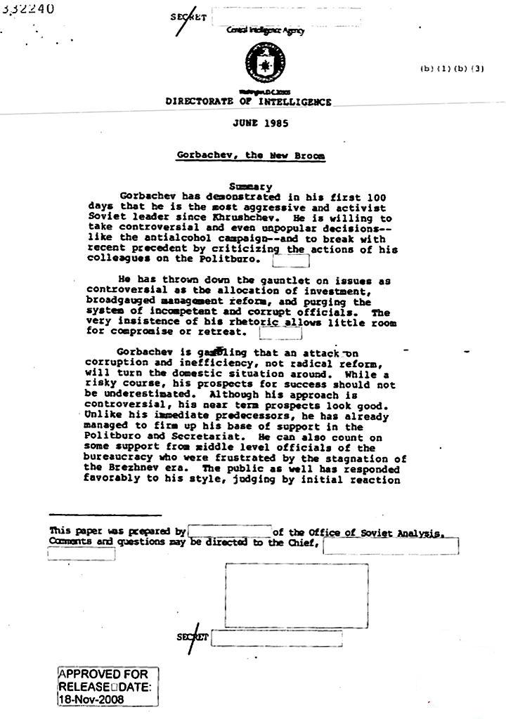 ЦРУ рассекретило документы о Горбачеве