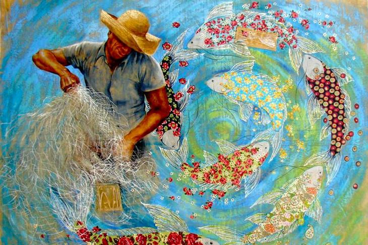 Бразильская художница Сандра Фрейтас и её картины из лоскутков и маслом