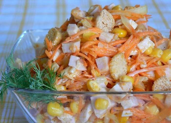 салат из корейской моркови и кукурузы и сухариков многие устанавливают
