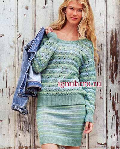 пуловер и юбка в полоску