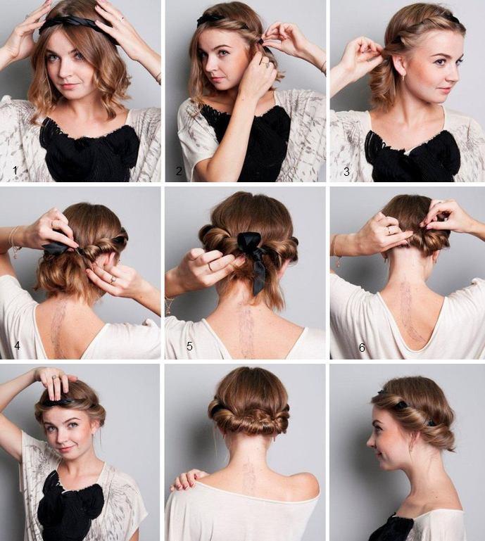 Прически на короткие волосы своими руками из косичек