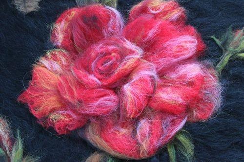 Интерьерная картина из шерсти Роза (мастер-класс)