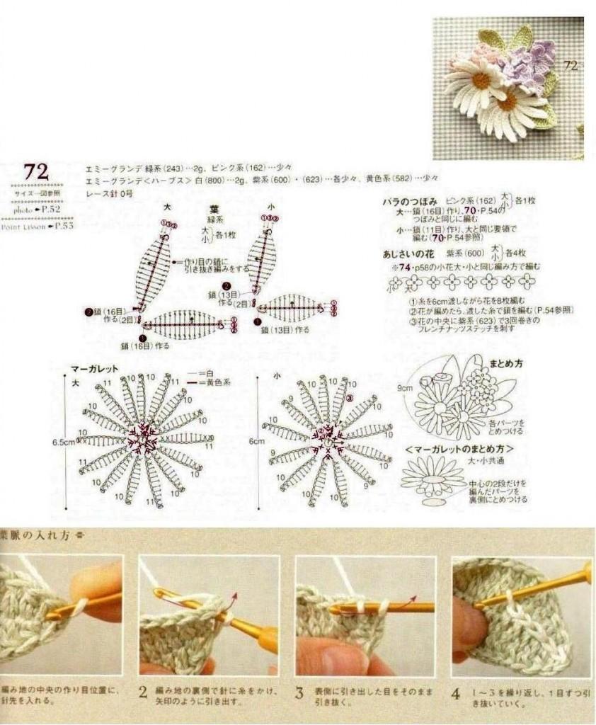 Вяжем крючком ромашку описание и схема