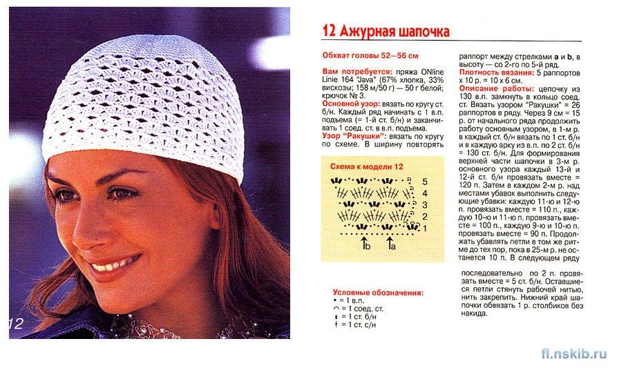 Схемы для летней шапочки крючком