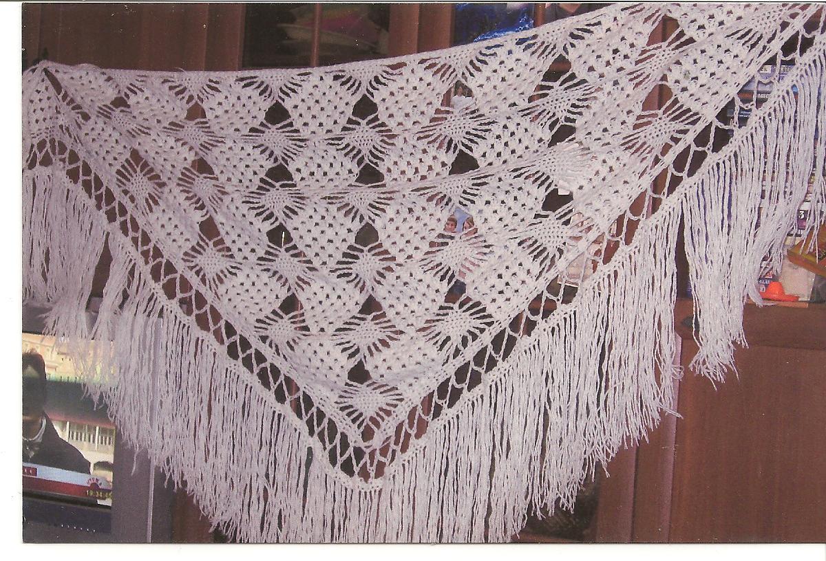 Вязание крючком шаль видео белая шаль