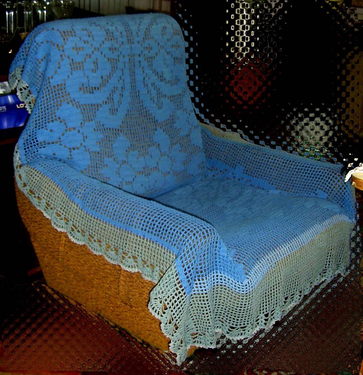 Вязание крючком накидки на стулья и диваны