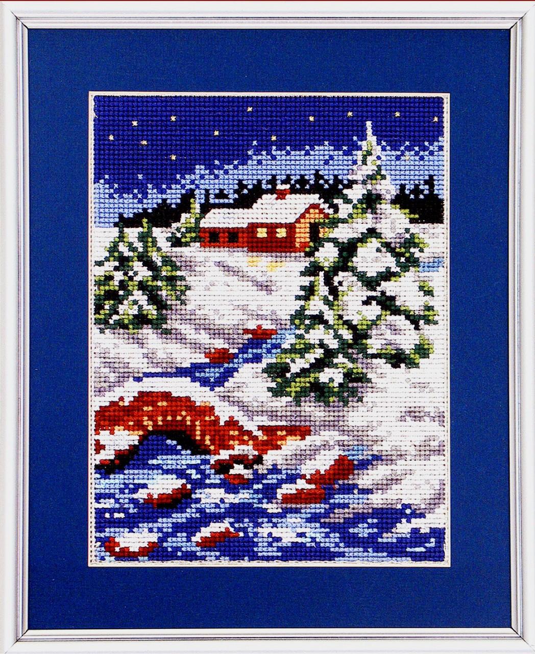 Зимние вышивка крестом 8