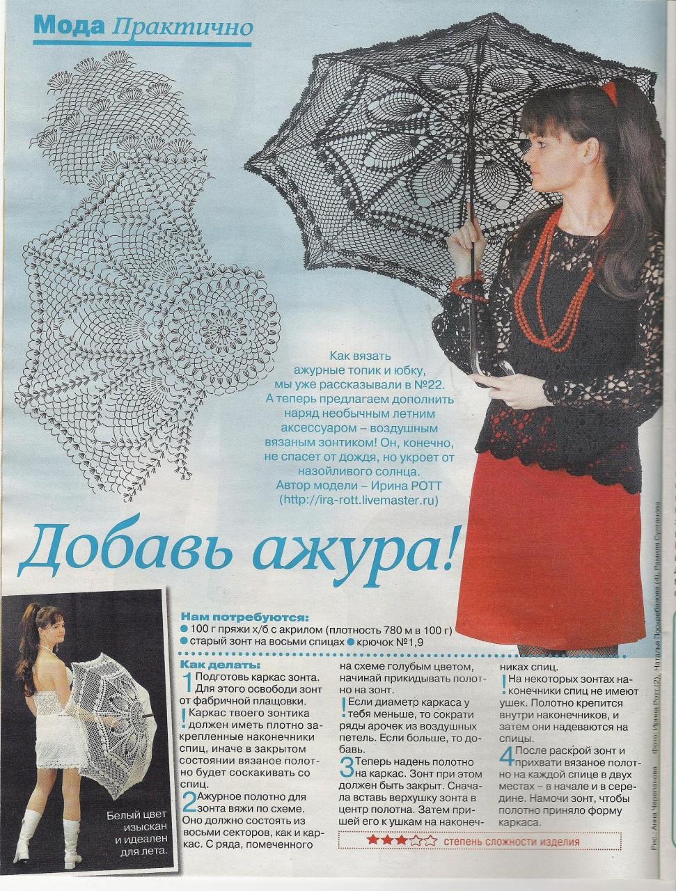 Вязаный зонтик описание и схема
