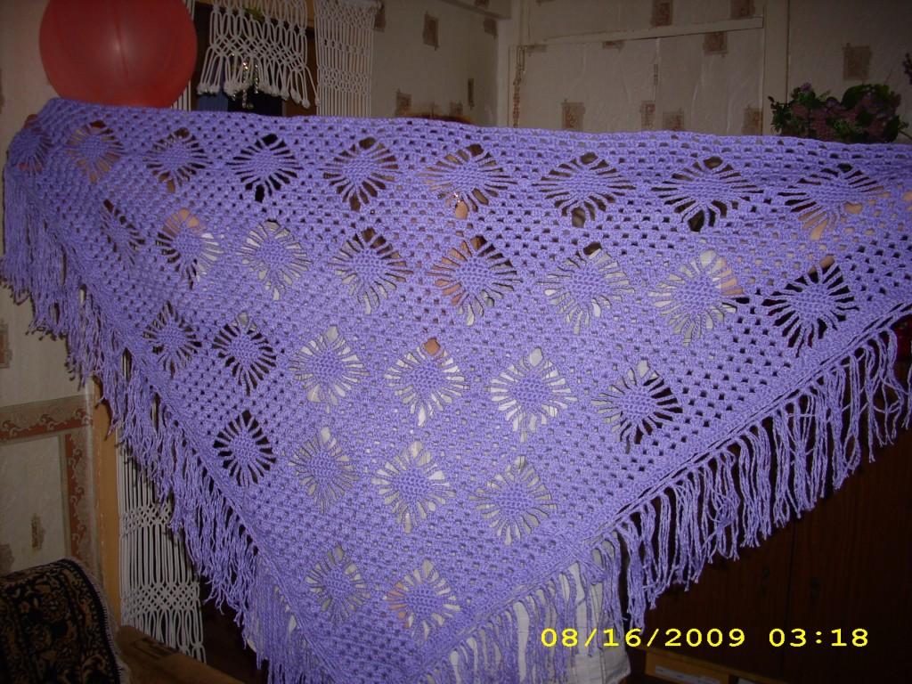 Вязание ажурного палантина на спицах