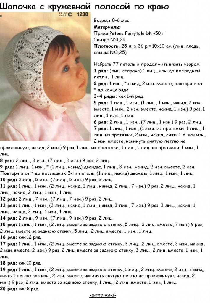 Шапочки для новорожденных как связать спицами