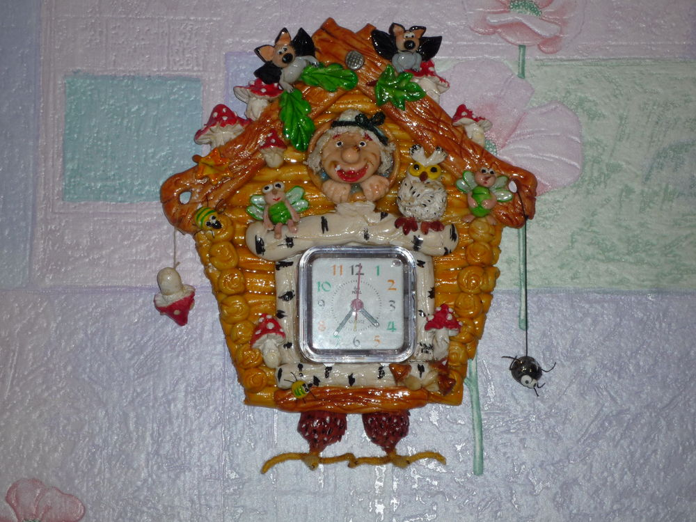 Часы из соленого теста фото