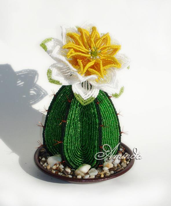 Чтобы сделать кактус из бисера нам понадобится можете воспользоваться фото и плести согласно этоой схемы плетения...