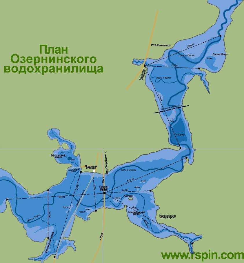 Карта глубин озернинское водохранилища