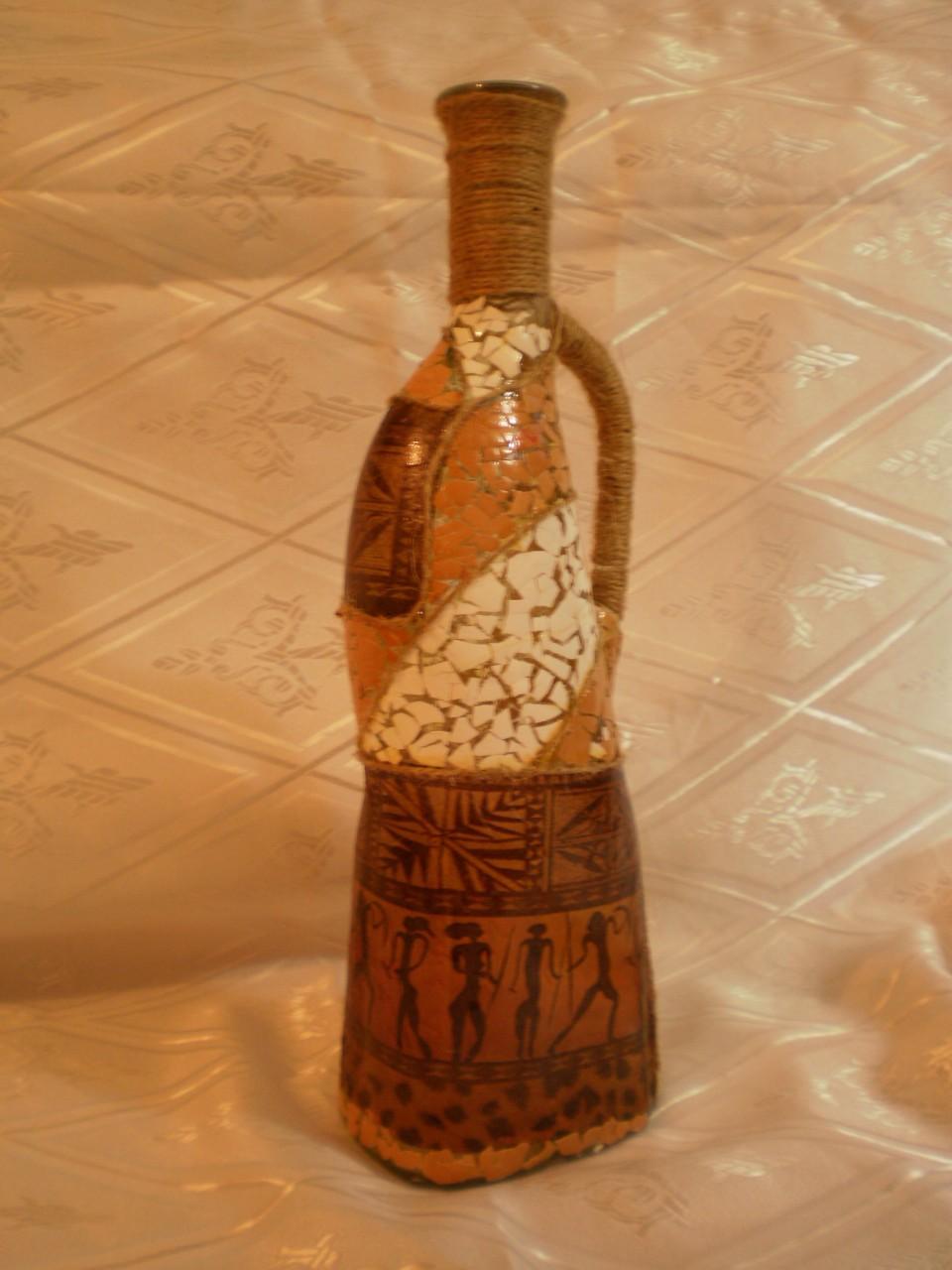 Вазы из бутылки: роспись, декор, обрезка (3 МК и 45 фото) 82