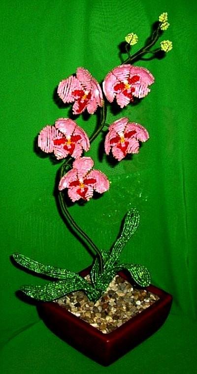 Орхидея из бисера: Мастер класс - Поделкин Дом.