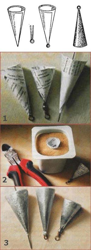 Как сделать формы для грузила из свинца