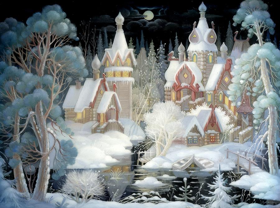 Лаковая миниатюра на тему зимы и Нового года