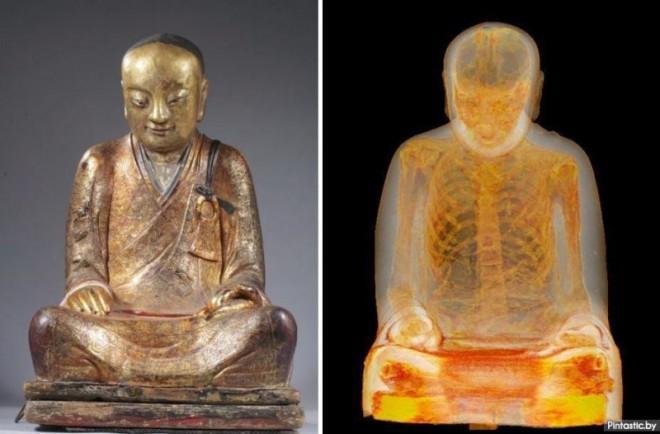 В статуе Будды 11 века обнаружили монаха!