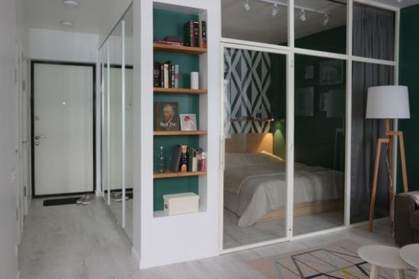 Владельцам так нравится - студия 32 кв.метра с полноценной спальней,  без телевизора и без посудомойки