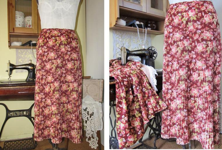 Шьем юбку по косой в технике синель