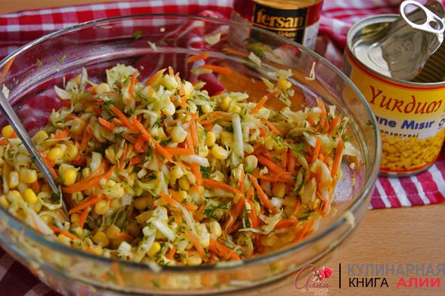 Легкий салат с капустой без майонеза рецепт с